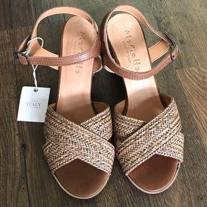 NWT Mariella woven sandal with block heel sz 8 1/2